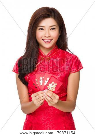 Chinese woman hold with luck money for lunar new year