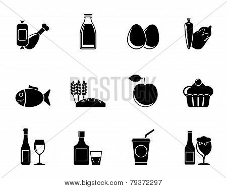 Silhouette Food, drink and Aliments icons