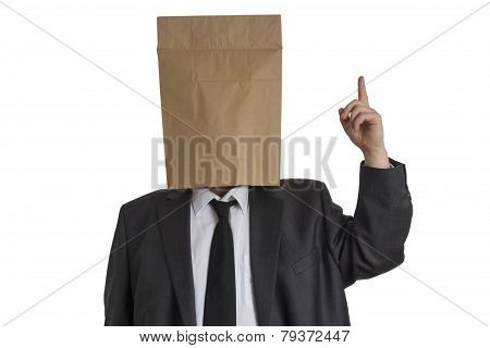 Man With Paper Bag On His Head Pointing Upwards