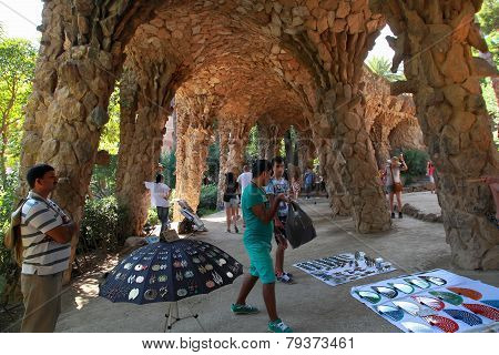 Barcelona, Spain - July 8: Souvenir Sellers In Famous Park Guell On July 8, 2014 In Barcelona, Spain
