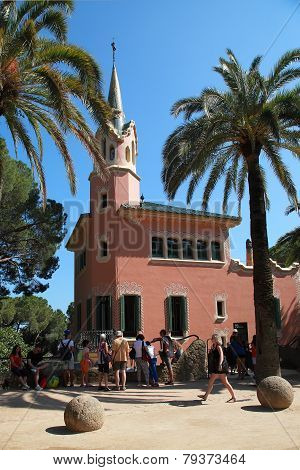 Barcelona, Spain - July 8: The Famous Park, Designed By Antoni Gaudi, Was Built Between 1900 And 191