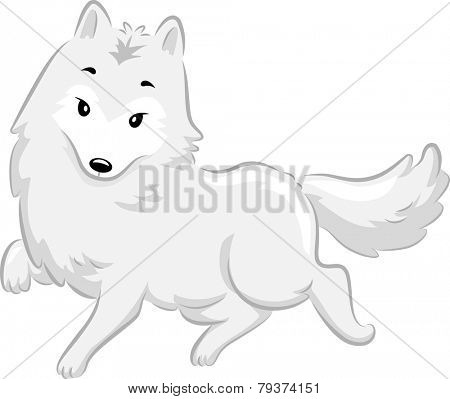 Illustration of a Cute Arctic Fox Walking Gracefully