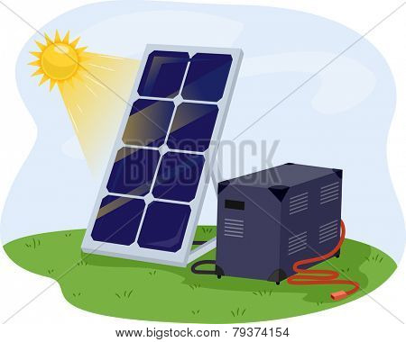 Illustration of a Solar Panel Getting Solar Energy From the Sun