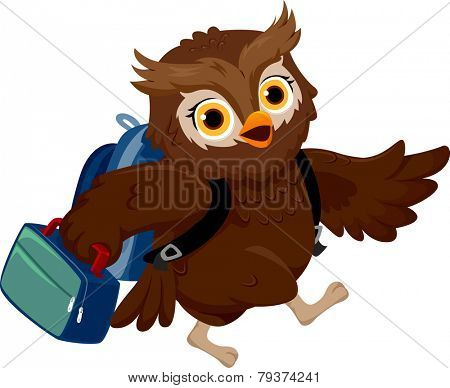 Illustration of an Owl Wearing a School Bag Carrying a Lunchbox to School