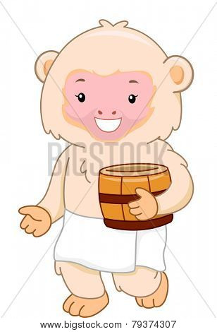 Illustration of a Macaque Monkey Preparing to Take a Bath at a Hot Spring