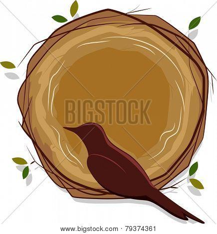 Sketchy Illustration of a Bird Sitting on a Nest
