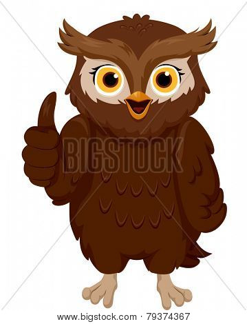 Illustration of a Smiling Owl Giving a Thumbs Up