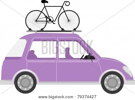 Illustration of a Car with a Bicycle Mounted on its Roof
