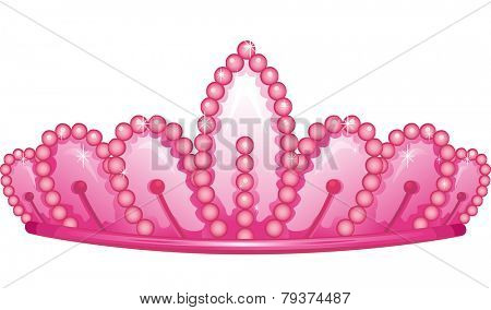 Illustration of a Cute Pink Crown Accented by Pearls