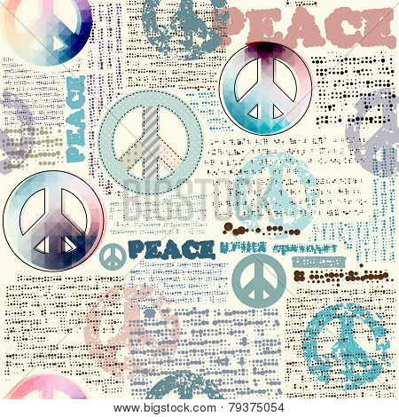Imitation of grunge newspaper with pacific symbols.