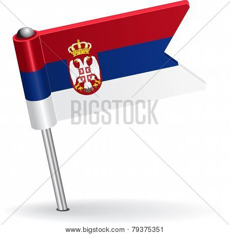 Serbian pin icon flag. Vector illustration