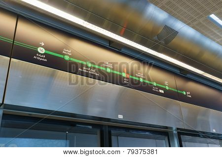 DUBAI - OCT 15: Dubai subway interior on October 15, 2014. The Dubai Metro is a driverless, fully automated metro rail network in the United Arab Emirates city of Dubai