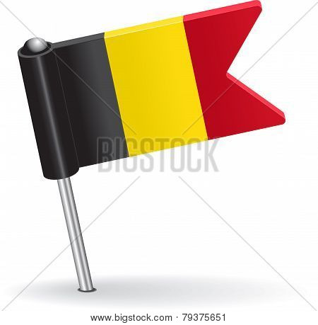 Belgian pin icon flag. Vector illustration