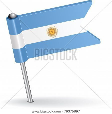 Argentine pin icon flag. Vector illustration