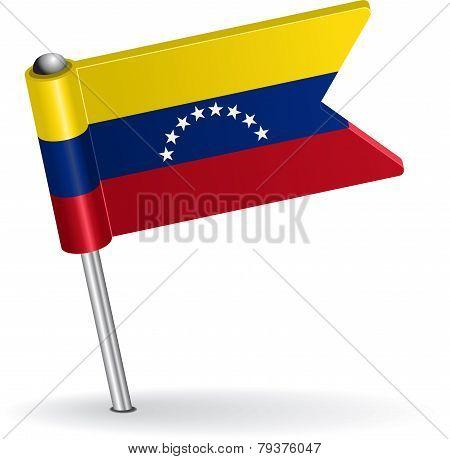 Venezuelan pin icon flag. Vector illustration
