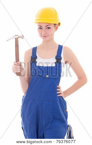 Young Beautiful Woman Builder In Blue Coveralls With Hammer Isolated On White