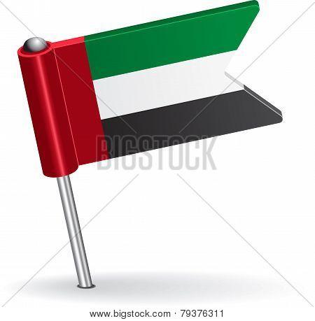 United Arab Emirates pin icon flag. Vector