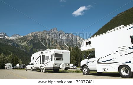 Motor Homes In Canadian Rockies. British Columbia. Canada