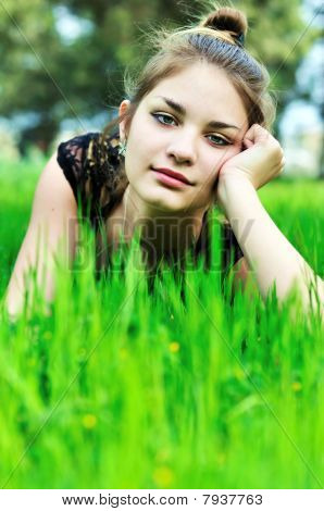 Elegant Girl On The Meadow