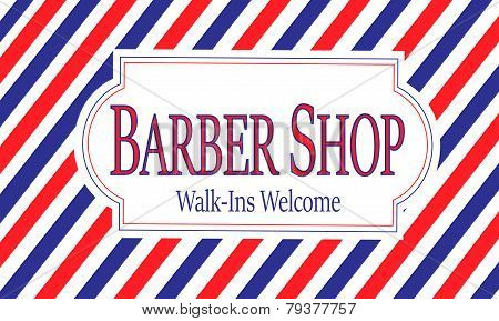 Red, White & Blue Barber Shop Sign