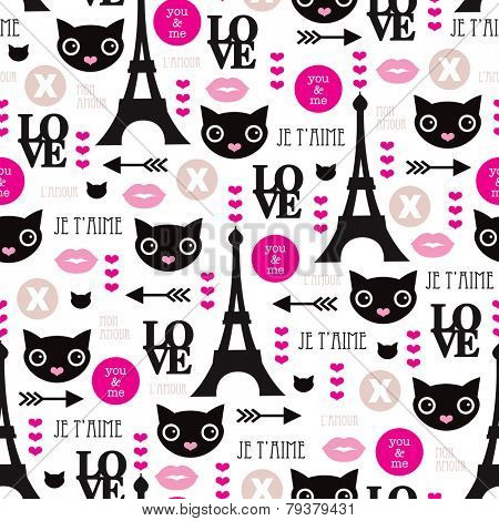 Seamless paris love and sweet kitten hearts and kisses illustration cool girls valentine background pattern in vector