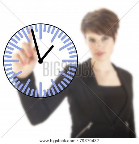 Young Businesswoman With Clock Isolated On White Background