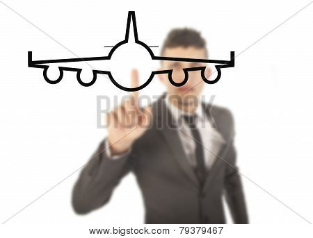 Young Businessman With Airplane Isolated On White Background