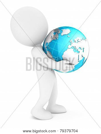 3d white people holding earth