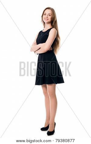 Portrait Of Young Cheerful Business Woman In Full Growth.