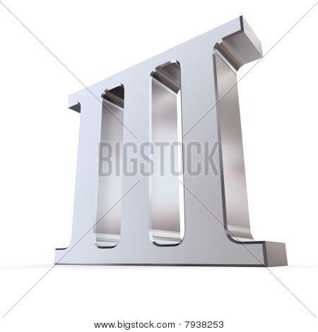 Metallic Roman Numeral 3