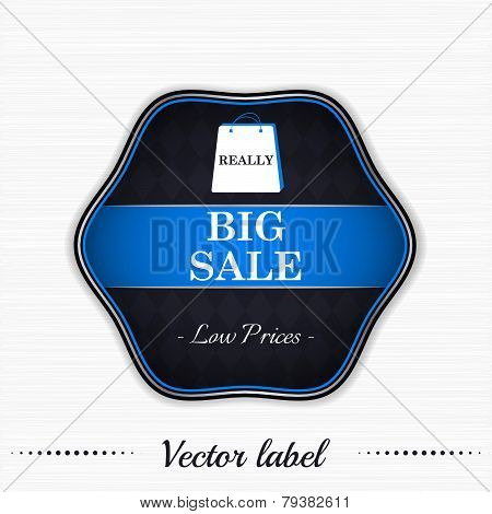 Big sale vector label with dollar symbol and shopping bag