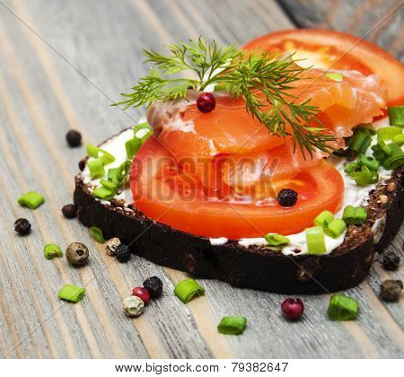 Sandwich With Smoked Salmon And Tomato