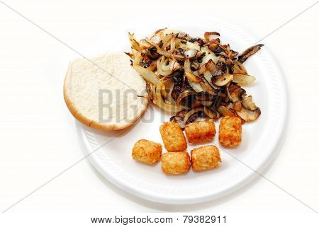 Onion Mushroom Burger With A Side Of Tater Tots