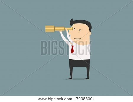 Cartoon Businessman Looking Through A Telescope