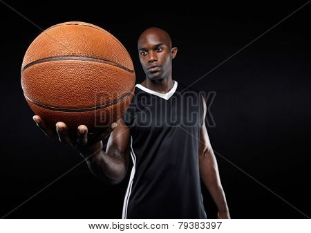 Basketball In Hand Of African Sportsman