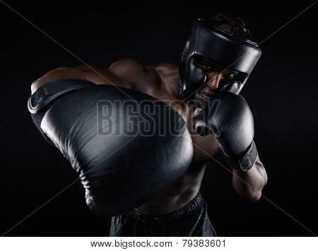 Young Male Practicing Boxing