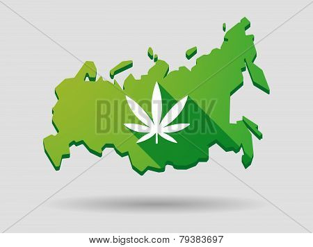 Russia Map Icon With A Marijuana Leaf