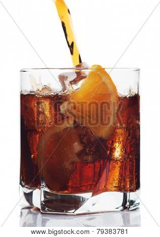 Glass of cola soft drink, isolated on white background