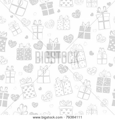 Seamless Pattern Of Hearts And Gift Boxes