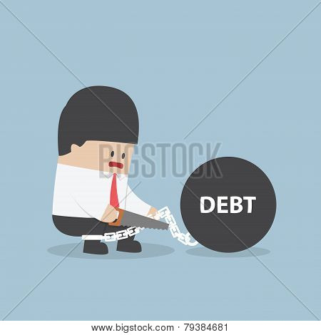 Businessman Trying To Destroy Debt Chain By Hacksaw