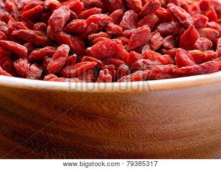 Wooden Bowl Full of Dried Goji Berries. Healthy Diet