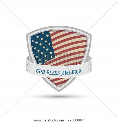God Bless America American Flag Shield Icon