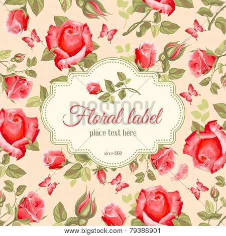 Luxurious retro style floral greeting card - roses. Vector illustration.