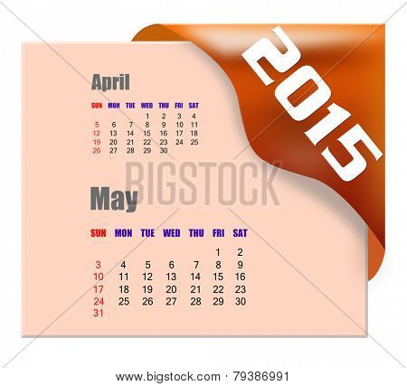May 2015 calendar with past month series