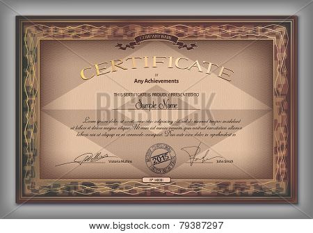 Vintage Certificate Template With Detailed Border And Calligraphic Elements On Brown Paper With Safe
