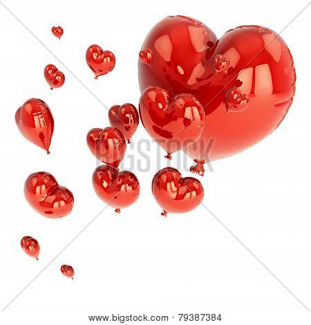 red balloon in heart shape for Valentine's Day with a string isolated on white background.