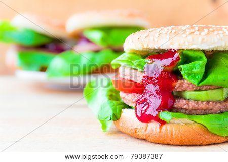 Appetizing Big Cheeseburger Fresh Lettuce Cucumber