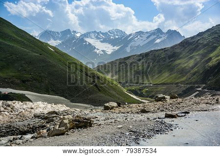 Mountain landscape when snow was melting