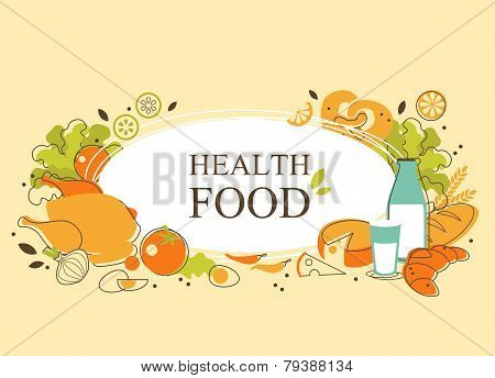 Healthy food background in doodle retro style