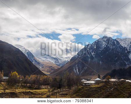 View Of Mountain At Kazbegi Village